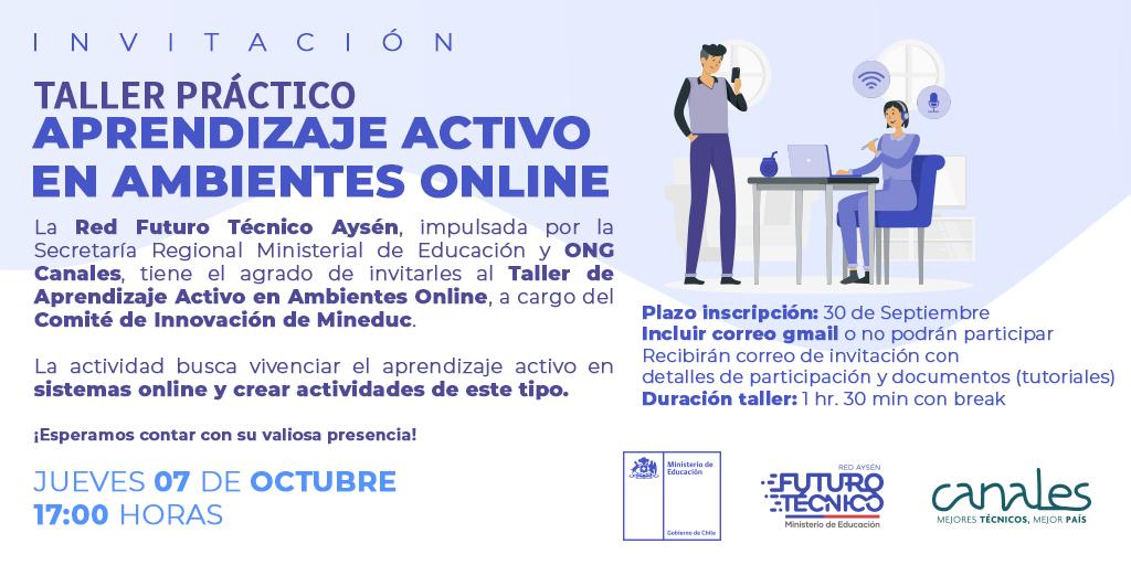 Afiche de invitación al Taller de Aprendizaje Activo en Ambientes Online